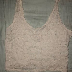 Hollister Ivory Lace Crop Top